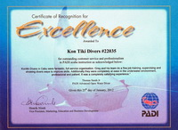 PADI Recognition of Excellence for Kontiki Divers