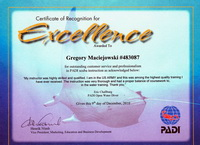 Certification of Recognition for Excellence - Greg Maciejowsky